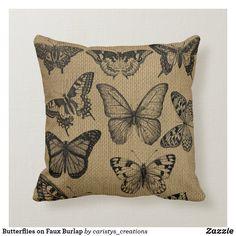 Butterflies on Faux Burlap Throw Pillow Burlap Throw Pillows, Nursery Room, Bohemian Decor, Custom Pillows, Knitted Fabric, Farmhouse Decor, Your Design, Butterflies, Cottage