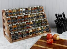 Organize your kitchen spice rack or spice cabinet into a space efficient and uniform looking way with our sets of French style glass spice jars with stylish spice labels SpiceLuxe!
