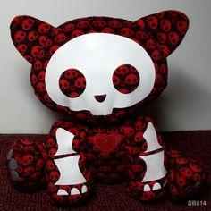 "Skelanimal KIT Kitty Cat Black w Red Skull Pattern Plush Stuffed Jakks -  6"" #JAKKSPacific"