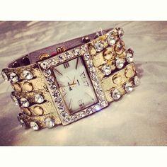 #Gold #rhinestone #studded multi-strand #watch. E-mail Shop@AuthorityGirl.com #authoritygirl