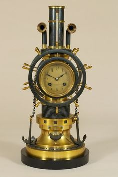 Very Rare Automaton Gilt Brass and Bronzed Mantel Clock in Nautical Theme by Guilmet, England