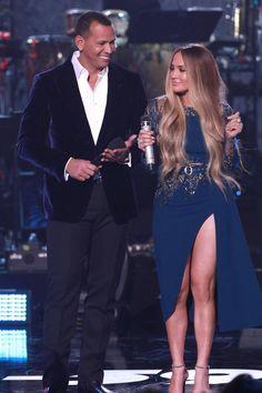 Jennifer Lopez wearing Elie Saab Spring 2017 Couture, Stuart Weitzman Nudist Sandals and Gilan Diamond Hoop Earrings
