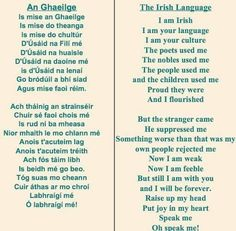 Let we Irish revive our language.