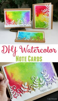I love the cutwork on white over a water colored card! Get crafty and artistic with this awesome DIY watercolor note card tutorial! The end result is stunning and you'll have so much fun creating your own! Cute Cards, Diy Cards, Diy Note Cards, Card Making Techniques, Card Tutorials, Tampons, Watercolor Cards, Paper Cards, Creative Cards