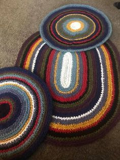 """Crochet Rag Rugs.................... made out of recycled bedsheets by Tina Birch They are crocheted (back stitched, back bar or back loop-whatever you understand best 😊) with a Q hook cut in 1.25"""" strips #TextileWaste #Upcycle #Recycle #DIY #GreenLiving #Craft #Handmade #Crochet #RagRugs"""