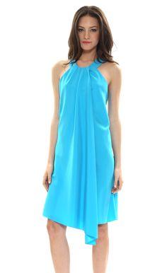 Great spring/summer color. Asymmetric halter dress