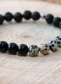 MensHaves Mannenarmband Black Dalmatier Jasper
