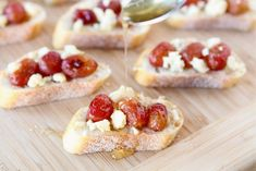 Roasted Grape, Blue Cheese & Honey Crostini