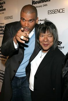 """Tyler Perry with his mom - Not exactly an """"Eye Candy"""" shot but I thinkg the pic of Tyler and his mom is nice. Black Actors, Black Celebrities, Celebs, Beautiful Family, Black Is Beautiful, Beautiful Things, Color Purple Broadway, Celebrity Couples, Celebrity Babies"""