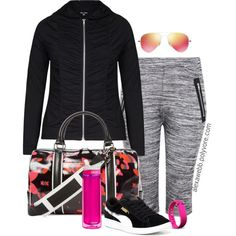 Work Out Gear by alexawebb on Polyvore featuring Puma, L.A.M.B., Ray-Ban, CamelBak, Fitbit, plus, gym, plussize, size and alexawebb