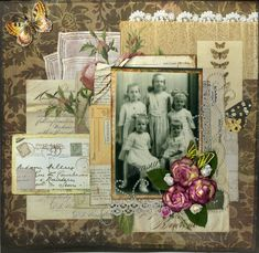 YOU could use your own post cards for a real effect.great layering of mementos and ephemera on this charming and feminine layout. Heritage Scrapbook Pages, Album Scrapbook, Scrapbook Page Layouts, Scrapbook Paper, Scrapbooking Vintage, Scrapbooking Ideas, Etiquette Vintage, Family History Book, Old Family Photos