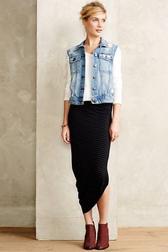 Current/Elliott Distressed Denim Vest, Angled Jersey Pencil Skirt - anthropologie.com #anthrofave || Denim blue, white, black |