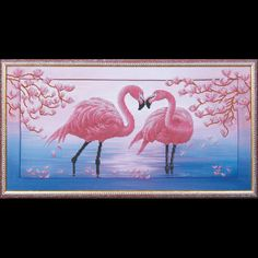 Flamingo Beaded DIY Embroidery Kit Scheme to embroider with