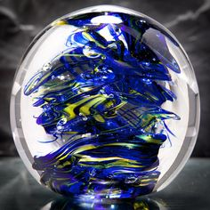 Glass Sculpture Cobalt Blue And Yellow - 13r2 Glass Art