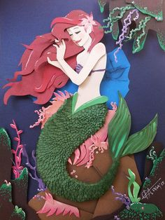 The Little Mermaid In cut Paper by RaphaelOda.deviantart.com on @DeviantArt