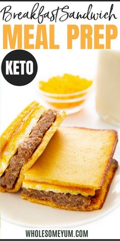 This low carb keto breakfast sandwich recipe is the ultimate freezer friendly keto breakfast meal prep, with just 3.2g net carbs! It has layers of pancakes, eggs, sausage, and cheese. #wholesomeyum Low Carb Keto, Low Carb Recipes, Real Food Recipes, Breakfast Sandwich Recipes, Meal Prep, Sandwiches, Lunch, Meals, Freezer