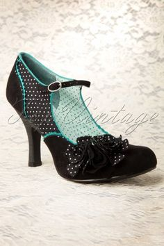 Ruby Shoes Alice Pumps Black Roses Polkadot 402 14 12895 20140326 003W