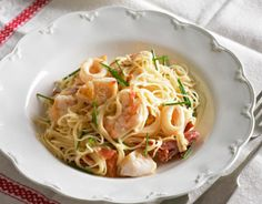 Angel hair pasta with prawn, squid and crab