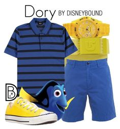 Dory by leslieakay on Polyvore featuring Converse, BOSS Black, Ralph Lauren, Burton, disney, disneybound, MensFashion and disneycharacter
