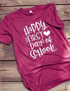 Teacher Outfit Happy First Day of School - Back to School Teacher Shirt Happy First Day of School - Back to School Teacher Shirt Preschool Teacher Shirts, Teaching Shirts, Back To School Teacher, First Day Of School, School Kids, School Stuff, Teacher Outfits, Teacher Gifts, Teacher Wardrobe