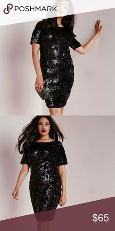 Missguided Black Sequin and Velvet Dress Brand new and never worn. Sad to see this go, but would like to see it go to a great home. Purchased direct from Missguided,  but also sold on ASOS. US18 TTS. ASOS Curve Dresses