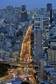 Lights run through the city night breathing life into the street-scape #Tokyo #Japan #City