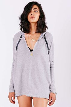 Project Social T Ribbed-Sleeve Hoodie Sweater