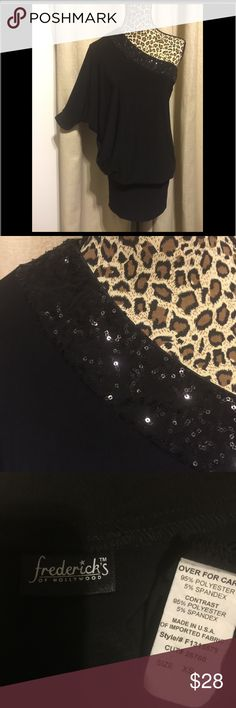 Little black Party dress xs or sm Fitted skirt and blouson top. Very flattering and perfect for that work Christmas party you know is right around the corner... Bundle 📦 for 💰Savings // 🚫No Trades // 🚫 No PayPal // 🚫I do not sell on other sites // 💟 Thanks for 👀checking out my Closet 🎁 Extra little something with every order ~ Come back for new additions 👠👗👜💍 Frederick's of Hollywood Dresses One Shoulder