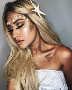 New Makeup Beauty Photography Costumes Ideas Halloween Looks, Couple Halloween Costumes, Halloween Makeup, Mermaid Costume Makeup, Mermaid Makeup, Beauty Make-up, Hair Beauty, Coachella Make-up, Make Carnaval