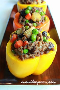 Manila Spoon: Stuffed Bell Peppers (Pinoy Style) - all done on the stove top and also gluten-free. Delish, of course! :-)