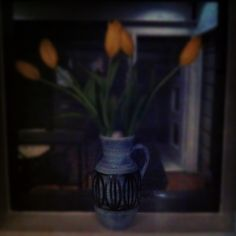 Tulips in the kitchen window