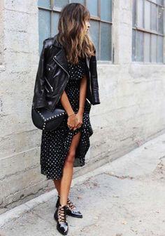 robe noire à pois