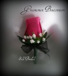 Hot Pink Wedding Boutineer | Hot Pink/Fuchsia White Black Wedding Flowers boutonniere addition for ...