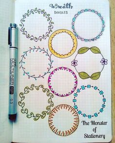 Pretty wreath doodles for your planner or bullet journal. Great for highlighting a new month or important information on a daily or weekly page. Bullet Journal Inspo, Bullet Journal Junkies, Bullet Journal Ideas Pages, Journal Pages, Doodle Drawing, Doodle Art, Doodle Frames, Bullet Journal Collections, Circle Doodles