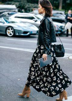 Perfecto + longue robe fleurie = le bon mix