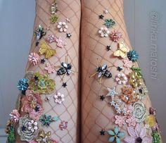 NYC-based artist Lirika Matoshi hand-creates the most AMAZING embellished fishnet tights.