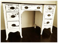 I painted this desk in Miss Mustard Seed's Ironstone and gave it the sweet chippy look!