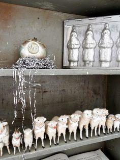 Lovely antique putz sheep from my collection merry - Weihnachtliche dekorationen im vintage look ...