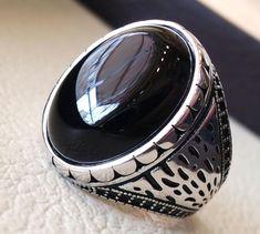 Femmes 21 mm 925 Sterling Silver Oval Noir Onyx Femmes Style Vintage Ring Band