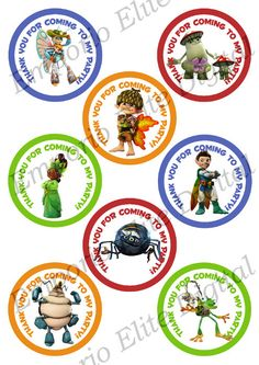 "INSTANT DOWNLOAD Tree Fu Tom Printable Party 3"" Circle for Favors, Toppers, Stickers, Decorations"