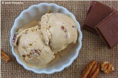 CAJETA ICE CREAM WITH MILK CHOCOLATE CHUNKS AND PECANS. Cajeta is a Mexican sauce made by boiling milk and sugar until the sugars caramelize. It makes a fabulous caramel ice cream, and extra yummy with pecans and soft chocolate chunks!!