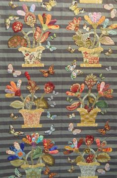 Faeries and Fibres: Lovely appliqué border with broderie perse butterflies.