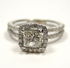 BEAUTIFUL. 1.20ct Antique Vintage Style Square PRINCESS Diamond ENGAGEMENT Wedding Anniversary RING With Pave Halo
