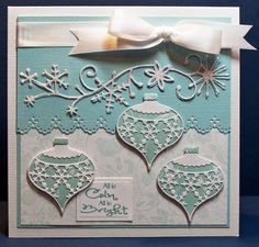 lovely pale blue and white Christmas card with Memory Box dies.baubles and snowflake flourish. Christmas Cards To Make, Xmas Cards, Handmade Christmas, Holiday Cards, Christmas Ornaments, Memory Box Cards, Memory Box Dies, Christmas Scrapbook, Winter Cards