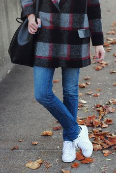 plaid coat and Stan Smiths