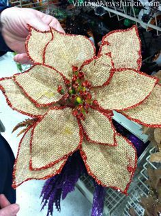DIY Burlap Flower Ornament --coat front and back of petals with Mod Podge so they will hold their shape, and then glitter the edges.