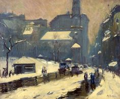 """""""Tremont Street, Boston, April 1925,"""" Arthur Clifton Goodwin, oil on canvas, 30 1/8 in. x 36 1/8"""", Addison Gallery of American Art."""
