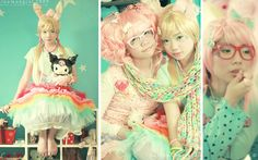 cute kids in cool colours. love the candy vibes Japanese Outfits, Japanese Fashion, Asian Fashion, Harajuku Fashion, Kawaii Fashion, Pastel Fashion, Cute Japanese, Cute Asian Girls, Kawaii Girl