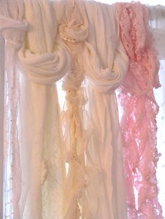 Shabby curtains made with old scarves, or even scraps of fabric. Shabby Chic Curtains, Farmhouse Curtains, Lace Curtains, Hanging Curtains, Drapery, Roman Curtains, Layered Curtains, Patterned Curtains, Purple Curtains