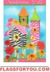 Zebra Birdhouses Garden Flag